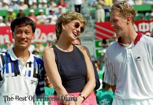 April 23, 1995: Princess Diana with tennis players Michael Chang of the US (L) and Sweden's Jonas Bjorkman during the awards ceremony at the Hong Kong Open. Princess Diana, on a private visit to Hong Kong, watched as Chang defeated Bjorkman 6-3, 6-1 to win the tournament.