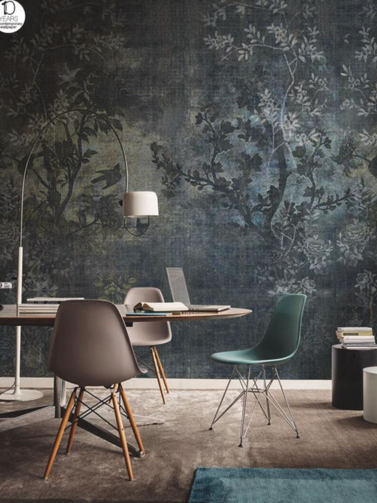 Gorgeous Wallpaper | Office | Darkness | Mistery | Chairs | Lighting | More inspirations at https://brabbu.com/