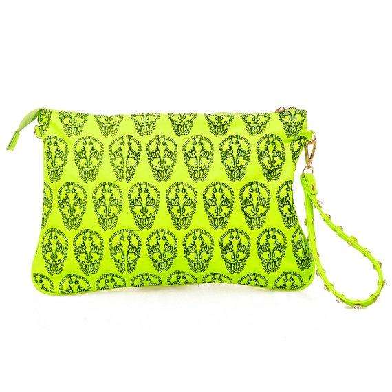 Neon Skull Clutch by dbcarnaval on Etsy, $49.00