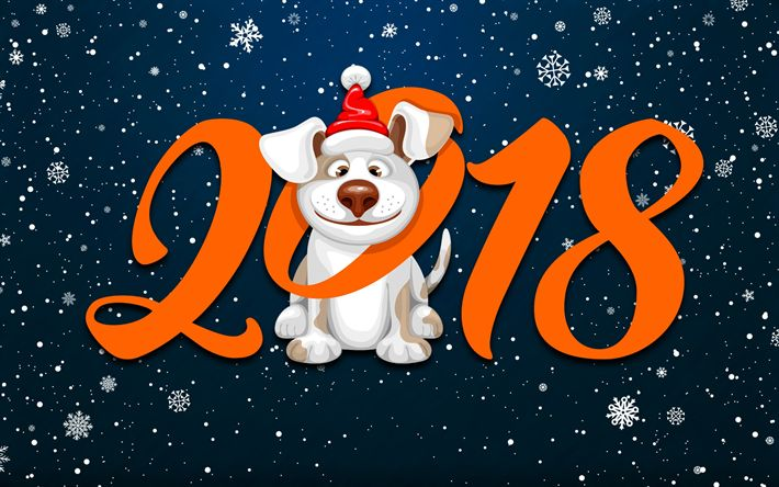 Download wallpapers Happy New Year 2018, dog, snowflakes, year of dog, Christmas 2018, creative, New Year 2018, xmas, Christmas