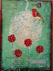 Jo Roffe - Red Robin. Mixed media and acrylics on canvas