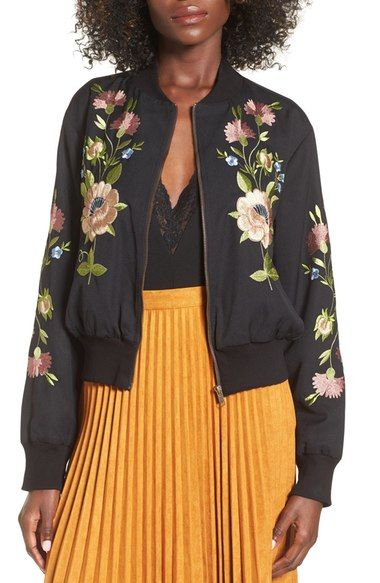Glamorous Embroidered Bomber Jacket available at #Nordstrom. Really like this jacket
