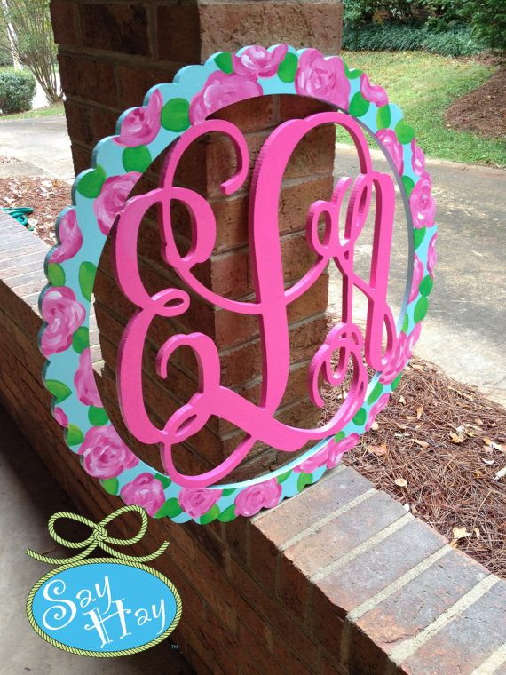 Monogram Wood Cutout in Lilly Pulitzer First Impression available by Say Hay Gifts