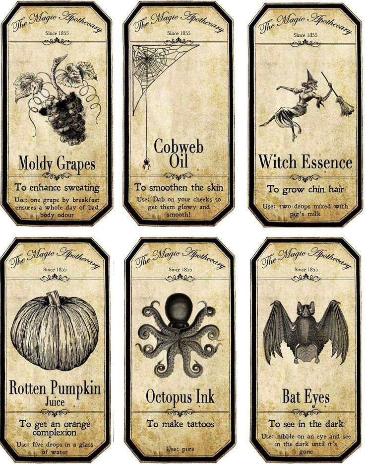 Halloween Apothecary Bottle Label Stickers Set of 6 Scrapbooking Glossy Paper | eBay