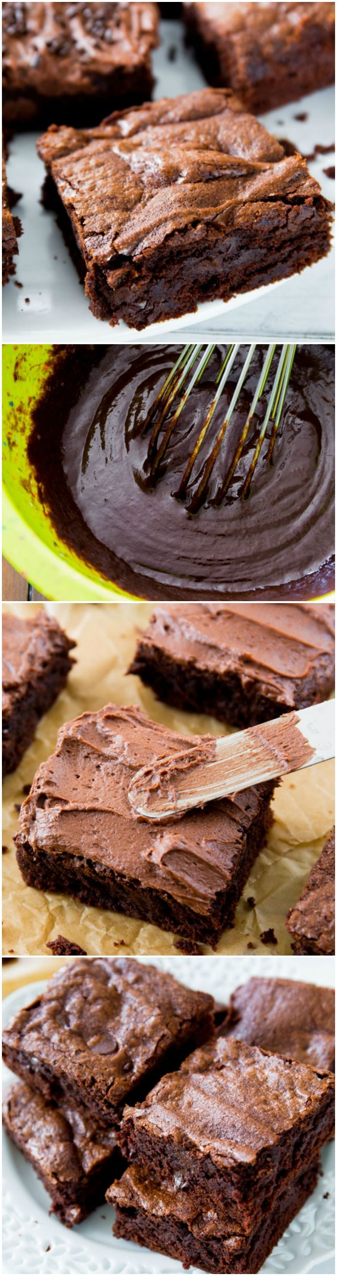 Chewy Fudgy Homemade Brownies ~ Make a whole batch of homemade brownies with this recipe that makes the process absolutely easy. It calls for some simple ingredients you surely have on hand, and you will be amazed how easy they are to whip up!