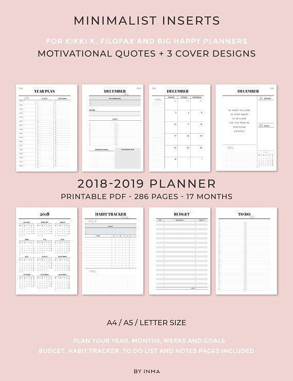 2018 2019 Planner Printable, Minimalist planner, Monthly Planner
