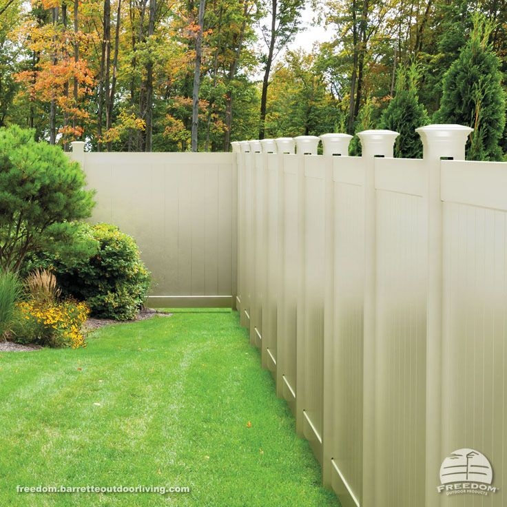 Vinyl Privacy Fence With Decorative Post Tops In Quot Sand