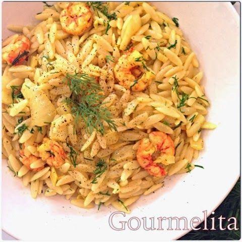Gourmelita: Κριθαράκι με Γαρίδες και Φινόκιο