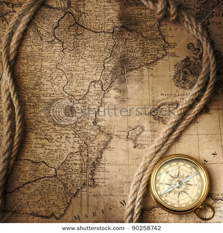 Old map and compass