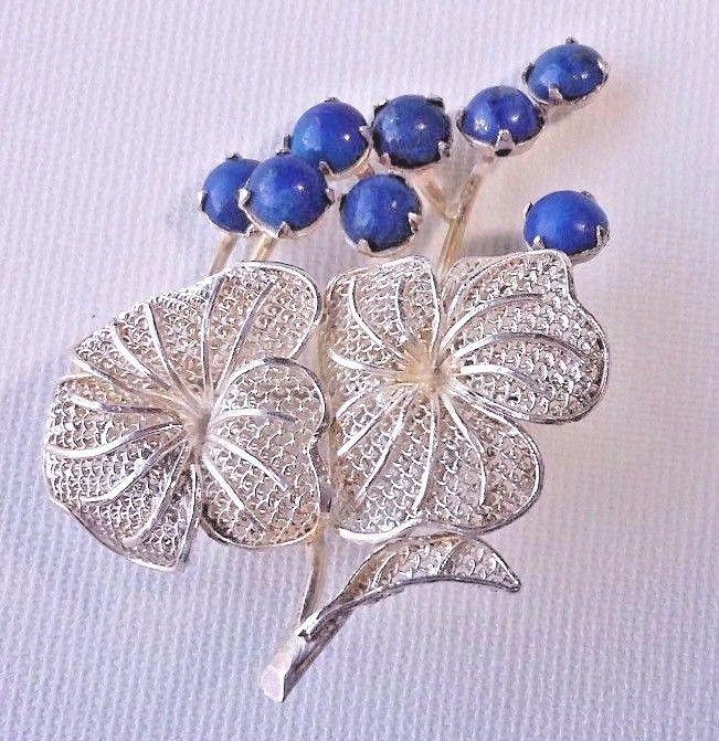 Vintage Flower Brooch Silver 830 Blue Stones Helsinki Finland Signed