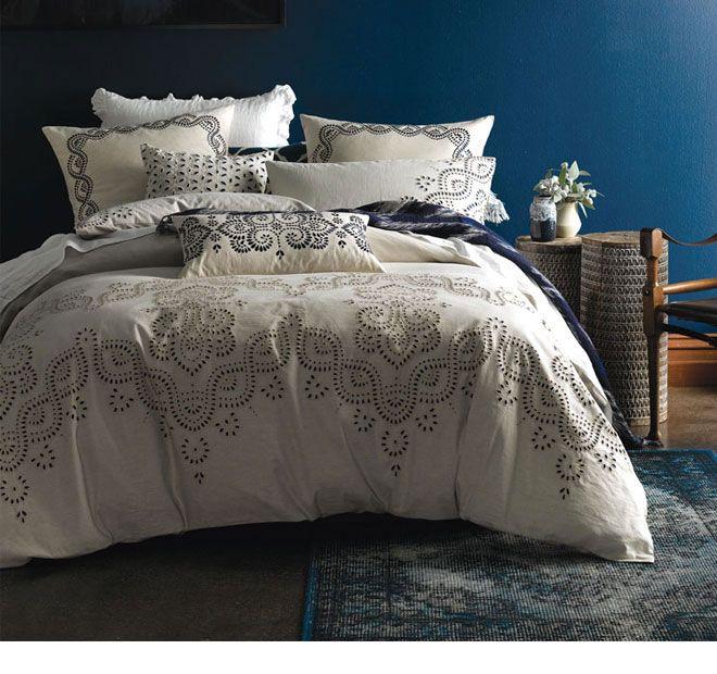 Linen House Naturals Rosie Quilt Cover Set Range Denim