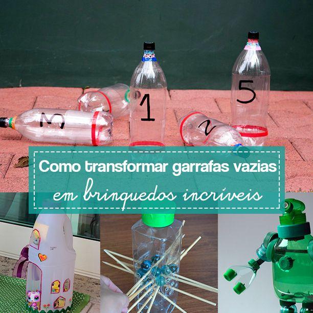 10 sugestões de brinquedos feitos com garrafas plásticas para fazer em casa com as crianças.