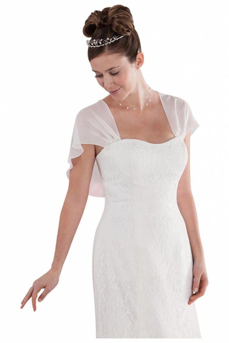 petite tole blanche en mousseline de soie pour robe de mariage bustier emmerling pour 5400 - Etole Blanche Pour Mariage