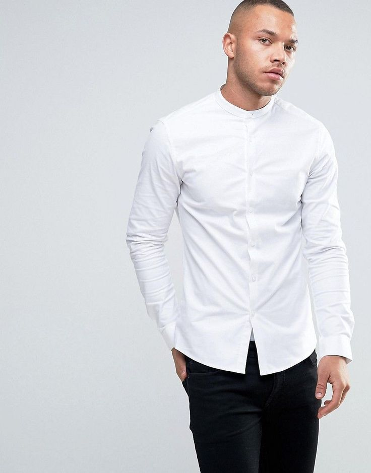 ASOS Smart Skinny Oxford Shirt With Grandad Collar - White