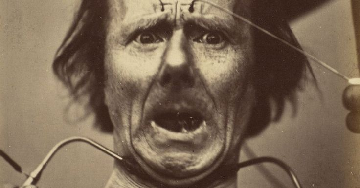 Targeted electric shocks were used to contort the subject's face into grotesque grimaces.