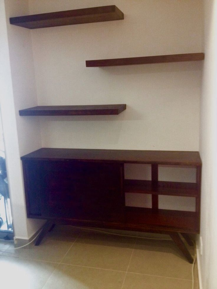 Pallet floating shelves and mid century Scandinavian credenza Panama City custom made echo a medida