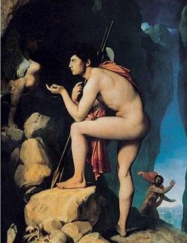 스핑크스의 수수께끼에  답하는 오이디푸스  by 앵그르 in 루브르 박물관