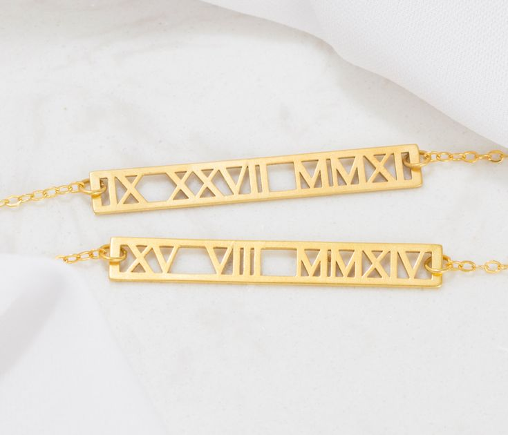 30% OFF! Roman Numerals Necklace - Cut-out Roman Numeral Gold Bar Necklace - Wedding Date Necklace - Wedding Gift - Personalized Gift by SilverHandwriting on Etsy https://www.etsy.com/hk-en/listing/479301657/30-off-roman-numerals-necklace-cut-out