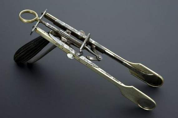 """Tonsil Guillotine (1860s)  This method of removing tonsils worked much like a traditional guillotine, slicing off the infected tonsils. This """"double guillotine"""" design meant that both tonsils could be removed at the same time. Tonsil guillotines were replaced by forceps and scalpels in the early 20th century due to the high rate of hemorrhaging and the imprecise nature of the device, which often left tonsil remnants in the mouth."""