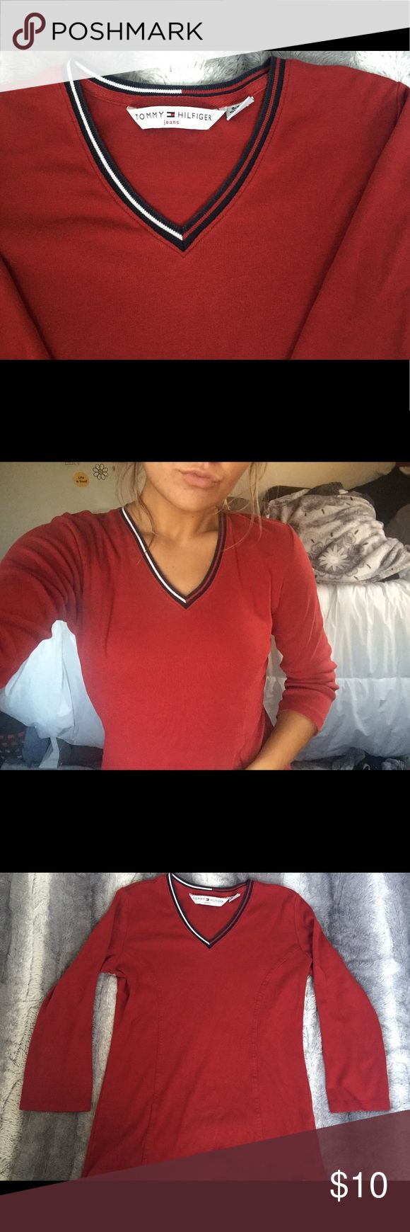 🔴 Red Tommy Hilfiger Shirt 🔴 Love this shirt! Super flattering and comfortable 😊 It is Tommy Hilfiger and is in really good condition. Looks really cute under a vest with a pair of jeans! Perfect for the fall 🍂 Tommy Hilfiger Tops Tees - Long Sleeve