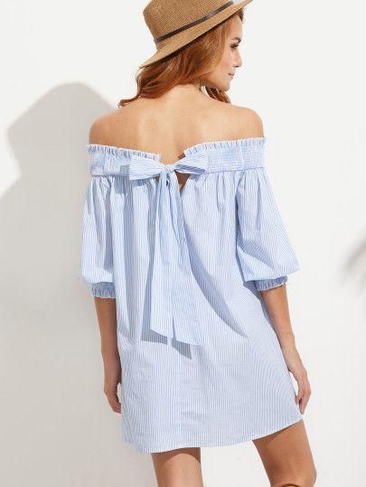 Blue Striped Bow Back Off The Shoulder Dress
