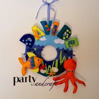 annuncia nascita per la stanza con peluche attacca e stacca!  seaside felt ornament with fish and octopus @Partyandcraft