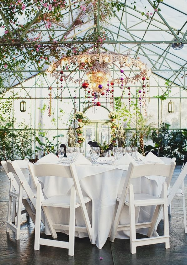 Greenhouse wedding reception.  The most unusual locations can create an amazing reception space.