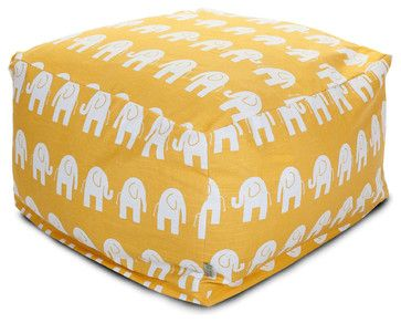 """Cute Modern Indoor Yellow Elephant """"Ellie"""" Large Ottoman by Majestic Home; via Houzz"""