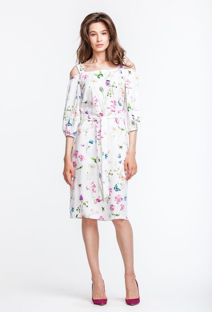 2703 Платье миди, принт полевые цветы, с открытыми плечами и поясом купить в Украине, цена в каталоге интернет-магазина брендовой одежды Musthave