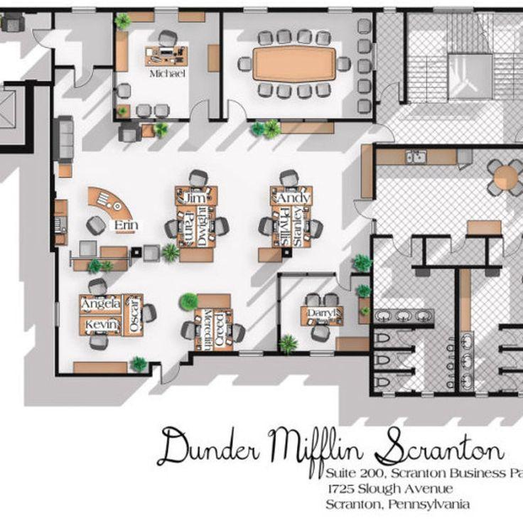 The Office US TV Show Office Floor Plan Dunder Mifflin