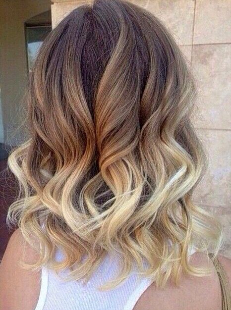 Ombré dark brown to light brown to blonde
