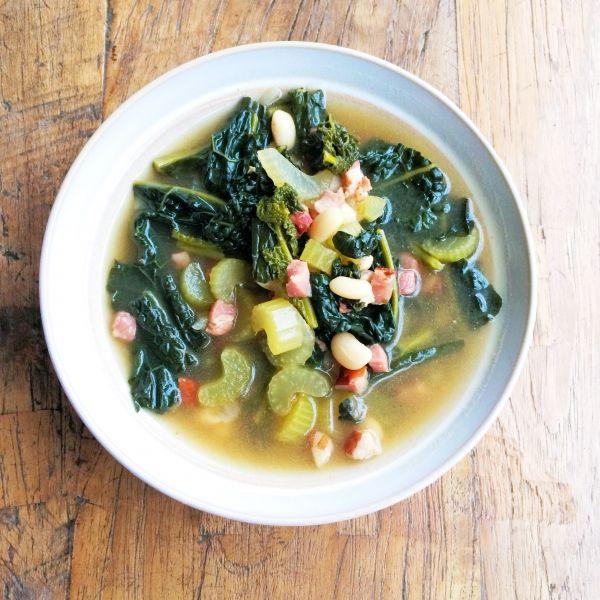 Palmkool soep met bonen & spekjes recept made by ellen