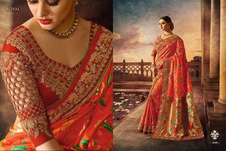 designer bridal wedding indian wear pure silk embroidery satin saree blouse sari #DESIGNER #Saree