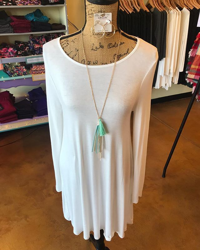 #OOTD soft stylish and comfy white dress with a tassel necklace - the perfect pair!!  #stellalouiseboutique #hereingreer #shopwithus
