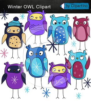 Owl winter clipart includes 14 files png: 8 owl clipart png multicolor 8 Snowflakes png multicolor Size 1 owl about 5 inch 300dpi. Original authoring technique, boldly use for commercial purposes. Create your own products and sell them. For personal and commercial use.