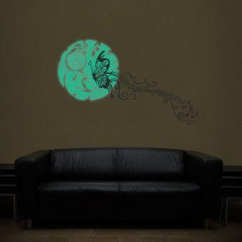 Sticker fosforescent: Fluturele noptii : Fosforescente - ★ Stickere Decorative ★ Stickere.Net ✫ Autocolante decorative de perete ®