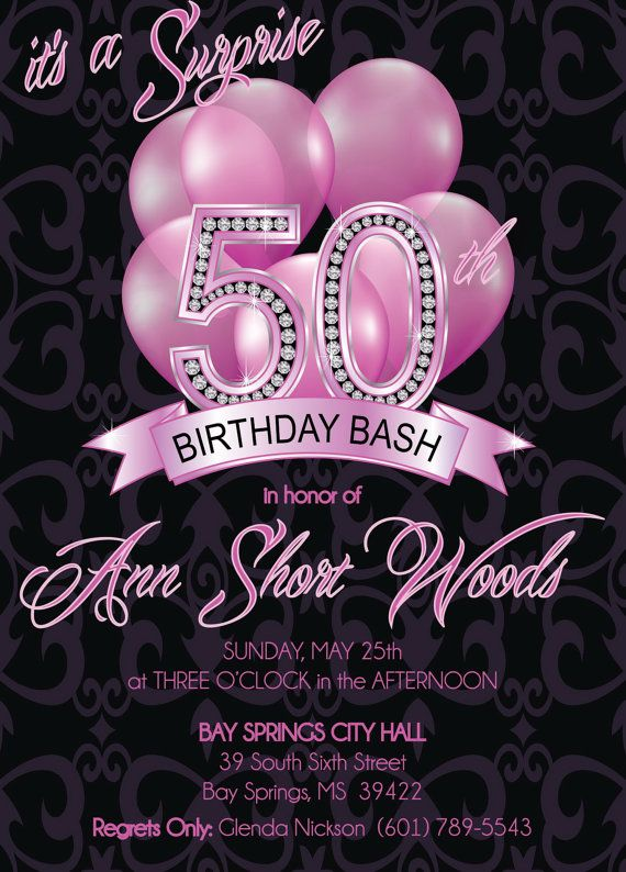 50th birthday invitations for her