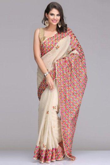 Light Beige Net Saree With Multicoloured Phulkari Embroidery