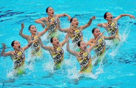 Japanese synchronized swimming team compete during the team event technical routine - Beijing Olympics 2008