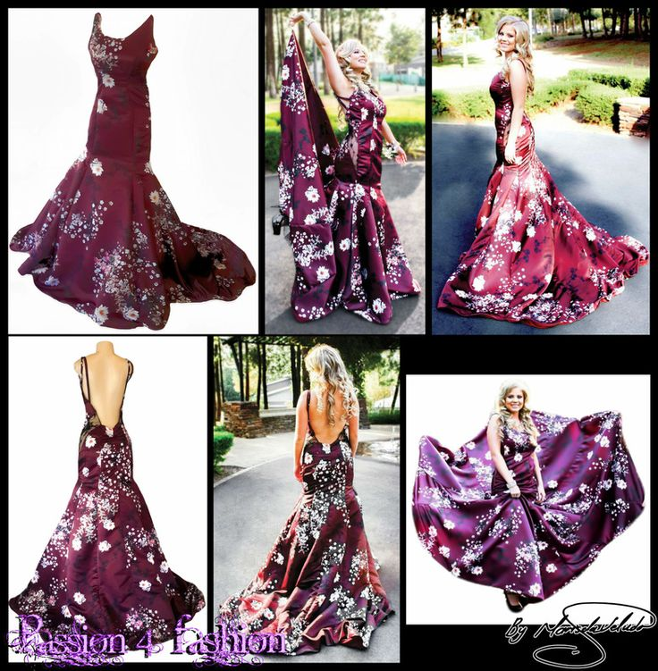 Burgundy, floral print mermaid matric dance dress. With a low rounded open back. Thin shoulder straps with lace panel on the hips and a long wide train. Fabric custom printed and designed in multi pastel colours and black on a burgundy background.