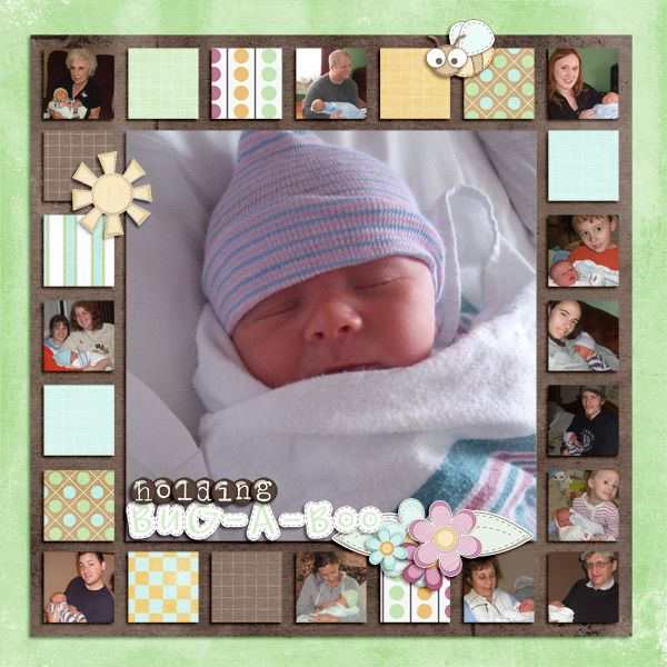 GREAT way to use smaller / further away pictures of family that visited baby! Love the little squares all the way around baby's pic!