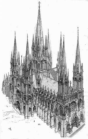 From the early 12th century, French builders developed the Gothic style, marked by the use of rib vaults, pointed arches, flying buttresses, and large stained glass windows. The Gothic style was mainly used in churches and cathedrals, and continued in use until the 16th century in much of Europe.