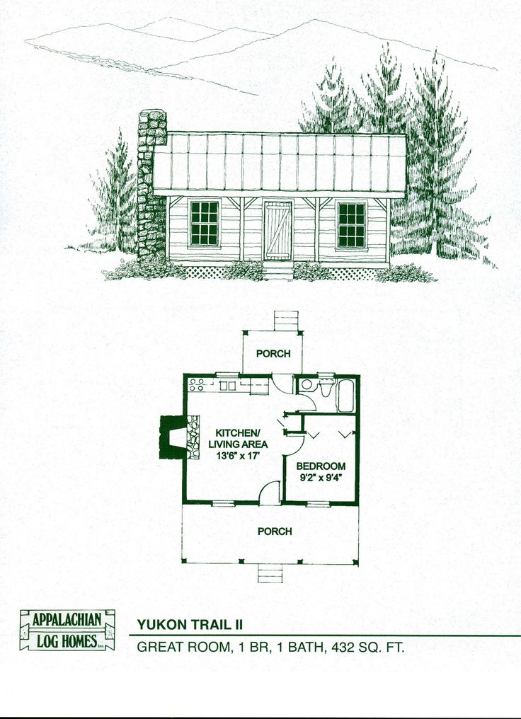 Log Home Package Kits - Log Cabin Kits - Yukon Trail II Model. This model is 432 sq ft. Many other models and floor plans at this site.