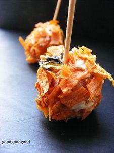 une recette originale pour l 39 ap ro les petites boules de carottes kiri canelle et chips de. Black Bedroom Furniture Sets. Home Design Ideas
