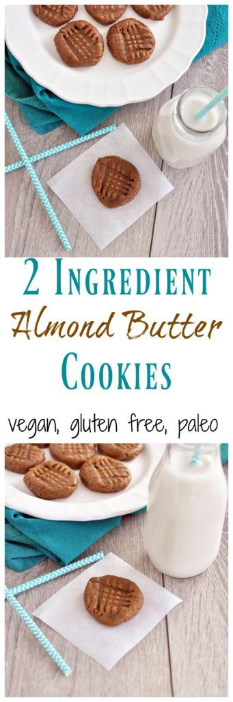 Simple 2 Ingredient Almond Butter Cookies are healthy enough for breakfast! Just 2 simple ingredients and ZERO added sugar. Vegan, gluten free and paleo!