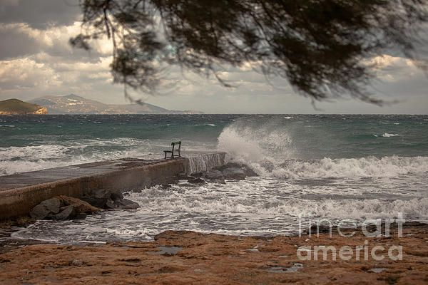 Seafront in Syros Island in Winter