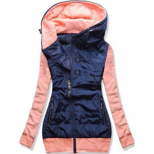 Dámská jarní/podzimní bunda Donie světle růžová – růžová – originální kombinace bundy a mikiny – asymetrický zip – tři ozdobné kolečka – dvě přední kapsy na zip – lemy ve spodní části i na rukávech …