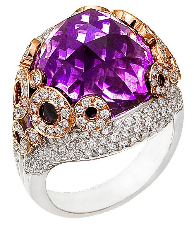 Diamond Ring, 1.33 Carat Diamonds 18.29 Carat Amethyst on 14K Rose & White Gold