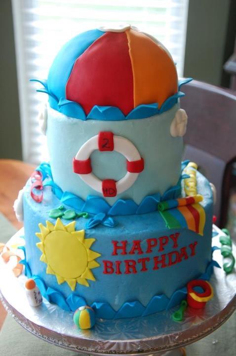 Summer Pool theme cake   Angela Barton's Cakes