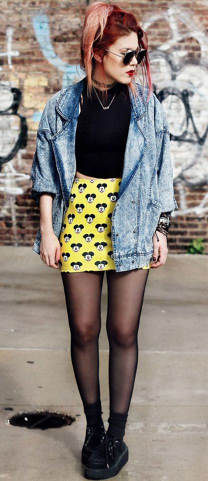Denim jacket with Mickey Skirt, top, stockings, Round sunglasses & Creepers shoes
